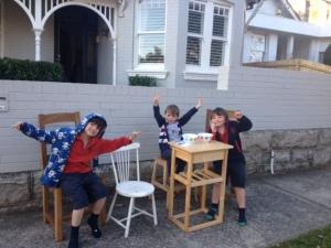 boys outside house
